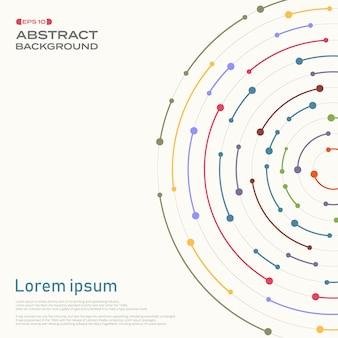 Couverture abstraite en ligne de rayures colorées en motif de cercle