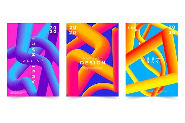 Couverture abstraite avec pack de formes dégradées