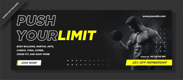 Couverture d'activité de gym push your limit
