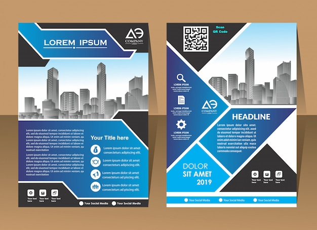 Couverture affiche brochure flyer design template vecteur