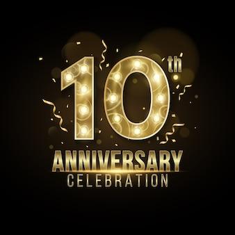 Couverture d'anniversaire des années fabriquée à partir d'élégants chiffres dorés avec des lampes chics sur un fond sombre avec des confettis et des guirlandes qui tombent.