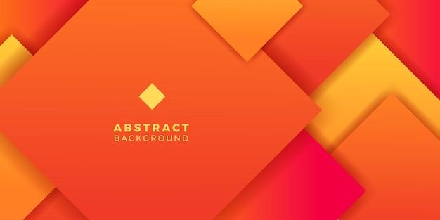 Couverture de bannière d'affiche de couleur dégradé orange vif carré géométrique abstrait pour futuriste et technologie