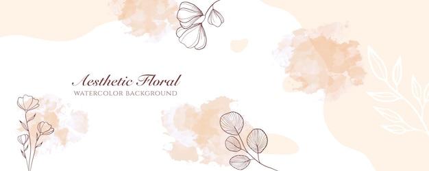 Couverture de bannière large à l'aquarelle ou publicité de page web. aquarelle abstraite éclaboussure modèle de fond de vecteur vertical large pastel marron clair. pour la beauté, le mariage, le maquillage, les bijoux. féminin romantique