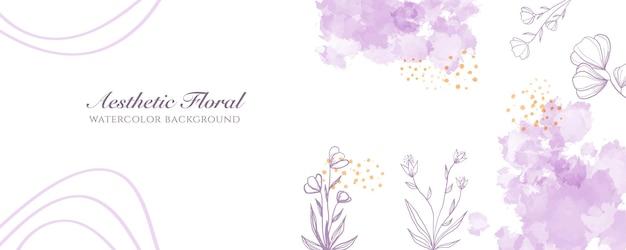 Couverture de bannière large à l'aquarelle ou publicité de page web. aquarelle abstraite éclaboussure violet pêche modèle de fond vecteur vertical large brillant. pour la beauté, le mariage, le maquillage, les bijoux. féminin romantique