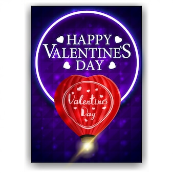 Couverture bleue de la saint-valentin avec ballon en forme de coeur