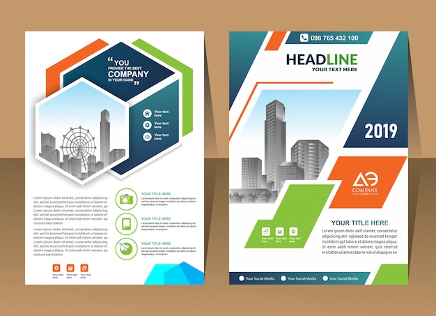 Couverture de la brochure entreprise abstrait rapport annuel modèle conception entreprise