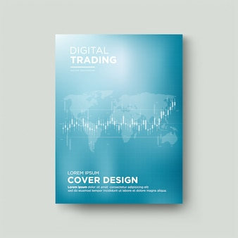 La couverture commerciale avec l'illustration du graphique en chandelier bleu transparent augmente.