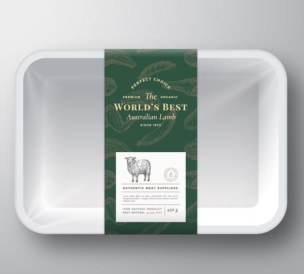 Couverture de conteneur de plateau en plastique de vecteur abstrait d'agneau du monde
