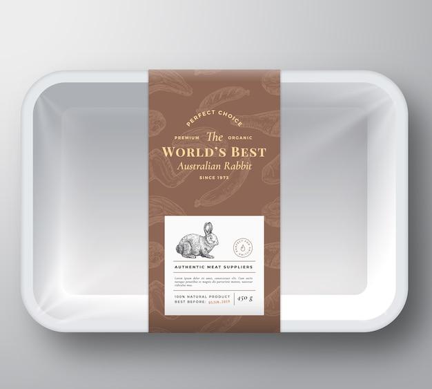 Couverture de conteneur de plateau en plastique de vecteur abstrait lapin du monde