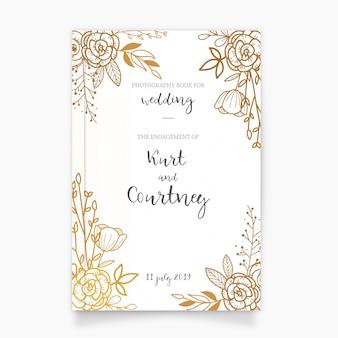 Couverture de livre de photographie d'or pour le mariage