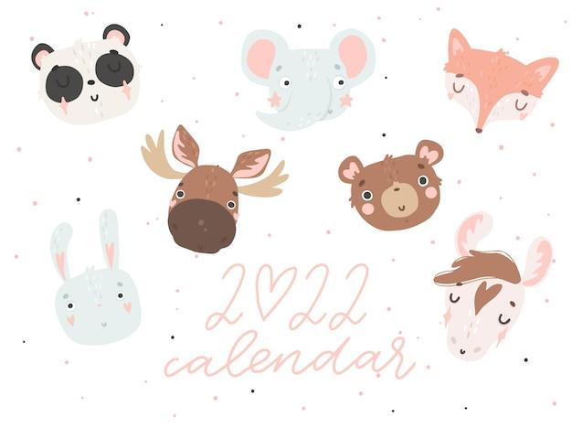 Couverture du calendrier 2022 avec de mignons animaux dessinés à la main