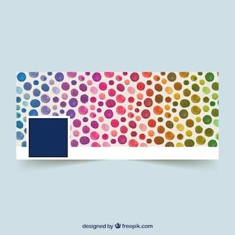 Couverture de facebok avec des cercles d'aquarelle colorés