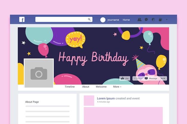 Couverture facebook abstraite d'anniversaire enfantine