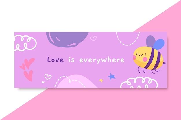 Couverture facebook d'amour enfantin dessiné à la main
