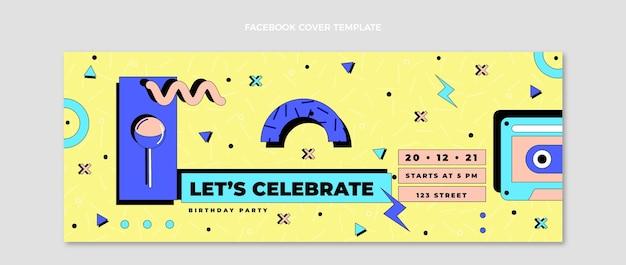 Couverture facebook anniversaire des années 90 dessinée à la main