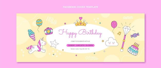 Couverture facebook anniversaire enfantin dessiné à la main