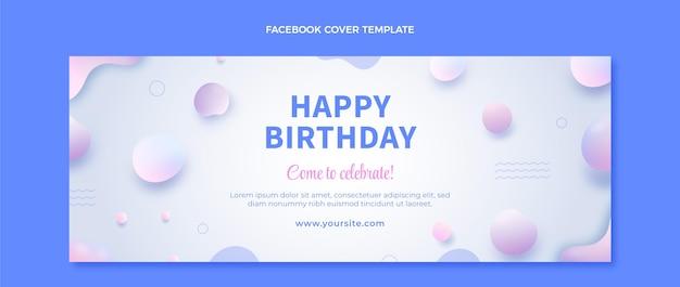 Couverture facebook d'anniversaire fluide abstrait dégradé