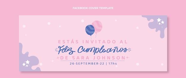 Couverture facebook anniversaire minimal design plat
