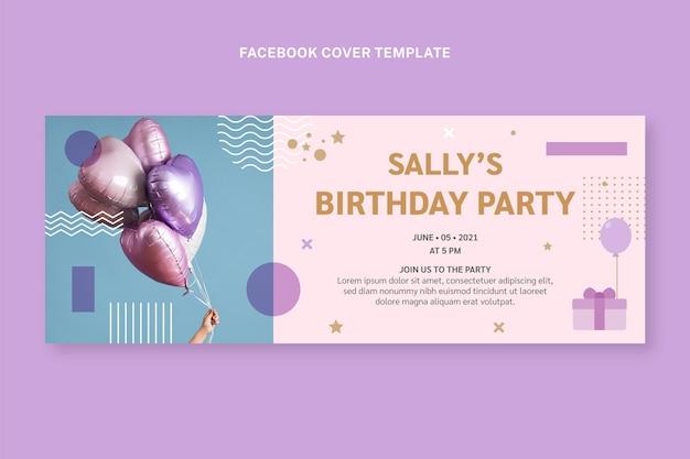 Couverture facebook d'anniversaire minimal de style plat
