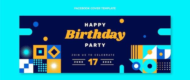 Couverture facebook d'anniversaire en mosaïque design plat
