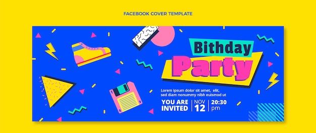 Couverture facebook d'anniversaire nostalgique des années 90 au design plat