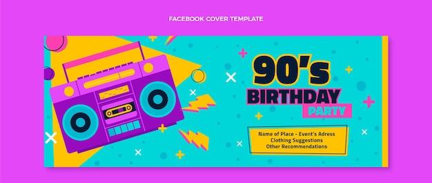Couverture facebook anniversaire nostalgique des années 90 dessinée à la main
