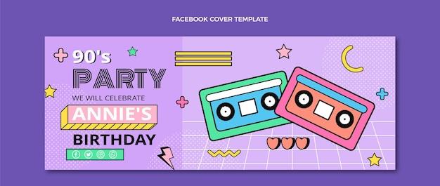 Couverture facebook d'anniversaire nostalgique plat des années 90