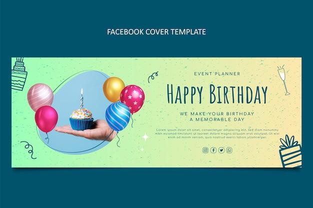 Couverture facebook d'anniversaire de texture dégradée