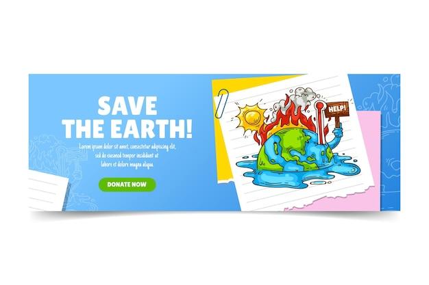 Couverture facebook sur le changement climatique dessinée à la main