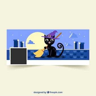 Couverture de facebook avec chat noir