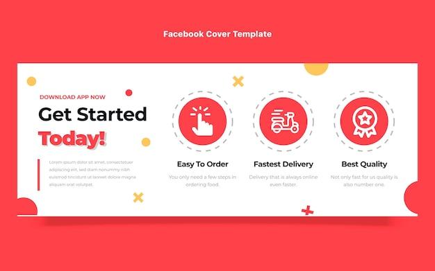 Couverture facebook de commande de nourriture design plat