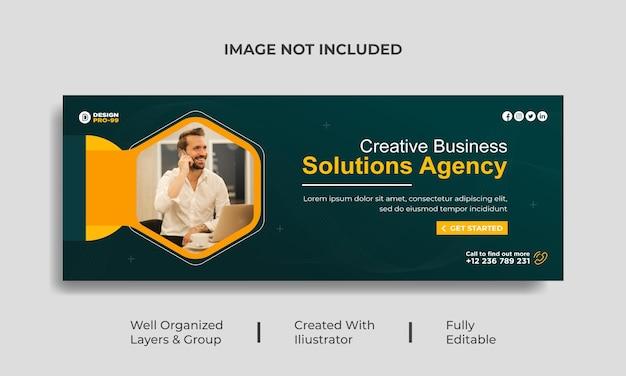 Couverture facebook creative business solution et modèle de bannière web premium