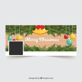 Couverture facebook avec des décorations de noël