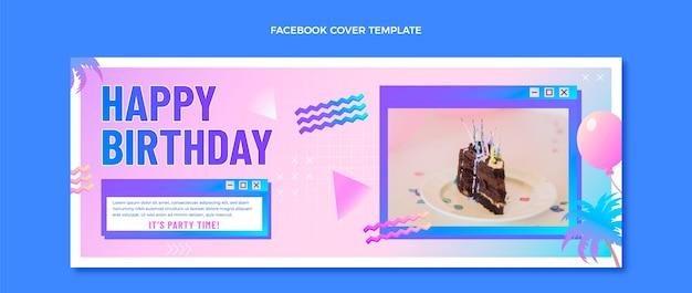 Couverture facebook dégradé rétro vaporwave anniversaire