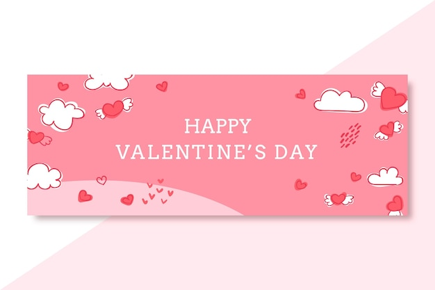 Couverture facebook doodled saint valentin