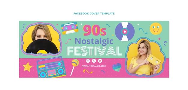 Couverture facebook du festival de musique des années 90 au design plat