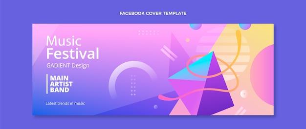 Couverture facebook du festival de musique coloré dégradé