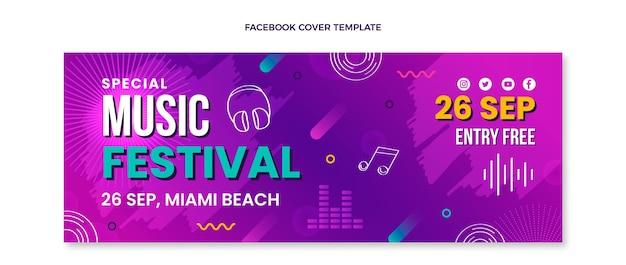 Couverture facebook du festival de musique colorée dessinée à la main