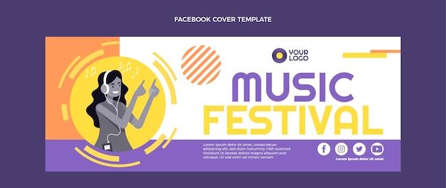 Couverture facebook du festival de musique design plat