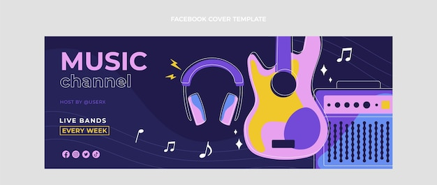 Couverture facebook du festival de musique minimal design plat