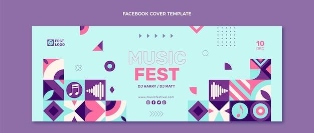 Couverture facebook du festival de musique en mosaïque design plat