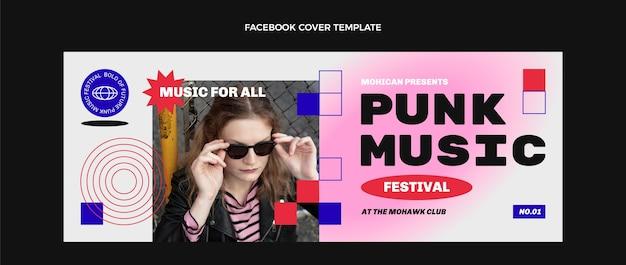 Couverture facebook du festival de musique nostalgique des années 90 au design plat