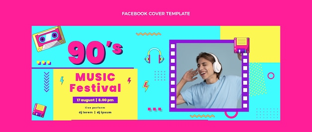 Couverture facebook du festival de musique nostalgique design plat