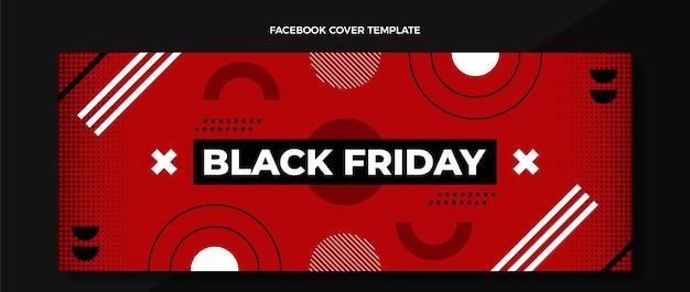 Couverture facebook du vendredi noir au design plat