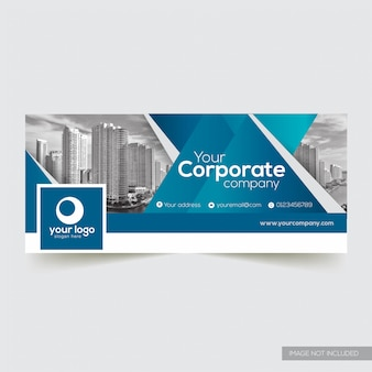 Couverture facebook entreprise avec élément abstrait bleu