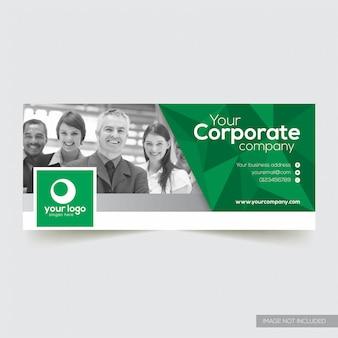 Couverture facebook entreprise avec élément abstrait vert