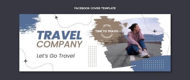 Couverture facebook de l'entreprise de voyage design plat