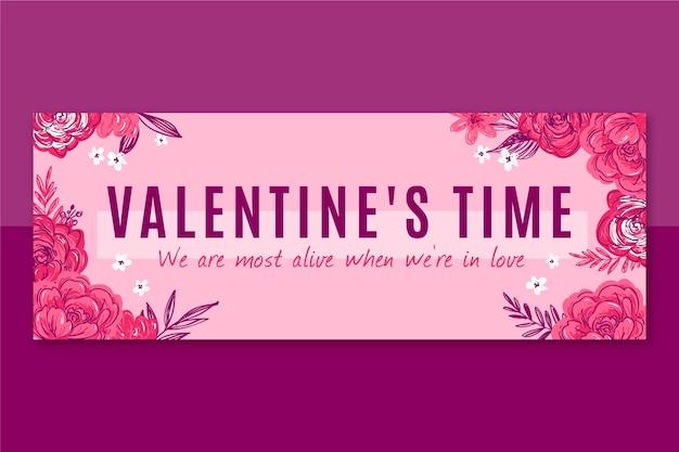 Couverture facebook florale de la saint valentin