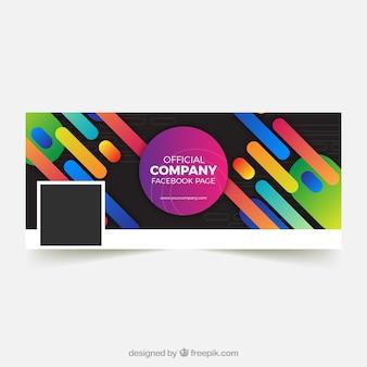Couverture de facebook avec des formes de couleurs