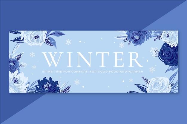 Couverture facebook d'hiver avec des fleurs